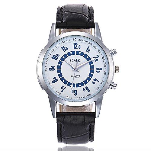 RTYou(TM) New Style CMK04 Male Leather Stainless Steel Analog Quartz Wrist Watch (White A) Style Alloy Analog