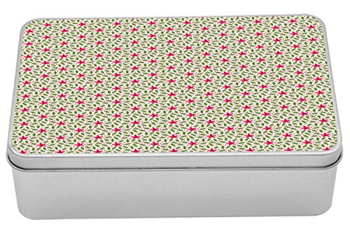 Lunarable Poinsettia Metal Box, Continuous Pattern with Holly Berry Leaves and Flowers, Multi-Purpose Rectangular Tin Box Container with Lid, 7.2