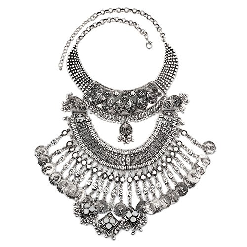 Charmed Craft Vintage Coin Boho Bohemian India Style Chunky Party Turkish Statement Collar Necklaces Chain (Turkish Coin Necklace)