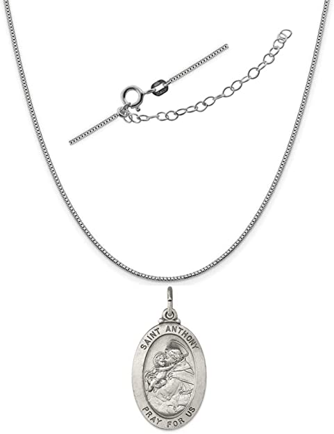 Sterling Silver Antiqued Saint Anthony Medal Charm on an Adjustable Chain Necklace