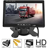 ePathChina Car Rear View Monitor 2 Video Input DVD VCD Headrest Vehicle Monitor Support Audio Video HDMI VGA 7 Inch 16:9 HD 1024600 TFT LCD Color