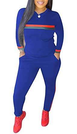 32c9d254e4219 DINGANG Women 2 Pieces Outfits Long Sleeve Top and Long Pants Sweatsuits Set  Tracksuits Blue
