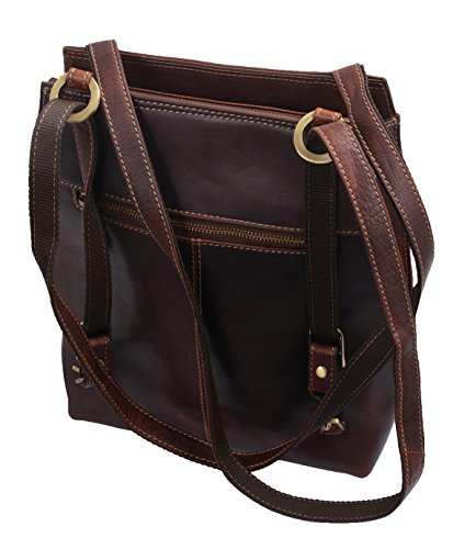 Bolso de hombro AVANCO, de cuero, 23x29x9cm Marrón