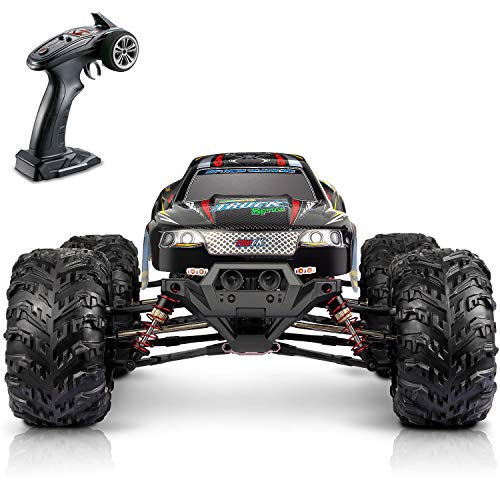 Hosim Large Size 1:10 Scale High Speed 30MPH 4WD 2.4Ghz Remote Control Truck Upgraded 9125 Waterproof RC Offroad Car Boys Electric Monster Truck for Kids and Adults| 2 Batteries | 6 Oil Filled Shocks|