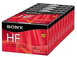 Sony 10C60HFL 60-Minute HF Cassette Recorders - 10 Brick