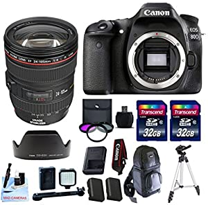 Canon EOS 80D + Canon EF 24-105 f/4 L IS USM (Glass Element) Lens + 2 32GB Transcend SD Memory Cards + Spare LP E6 + LED Video Light Kit & More - International Version