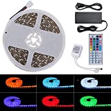 Lahoku 5050 RGB LED Strip Light Kit 32.8ft 10m 600 LEDs Waterproof Flexible Led Light Strip Multicolour Changing Outdoor/Indoor LED Tape Light with 24V 6A Power Supply and 44Key IR Remote Controller