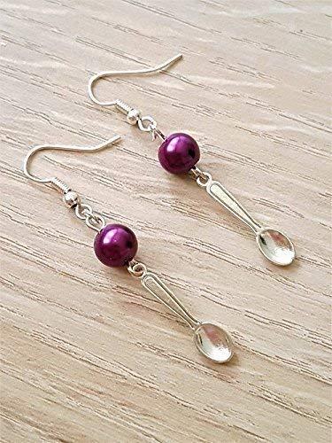 33b220a6c Handmade Fibromyalgia Purple Bead Spoon Earrings: Amazon.co.uk: Handmade