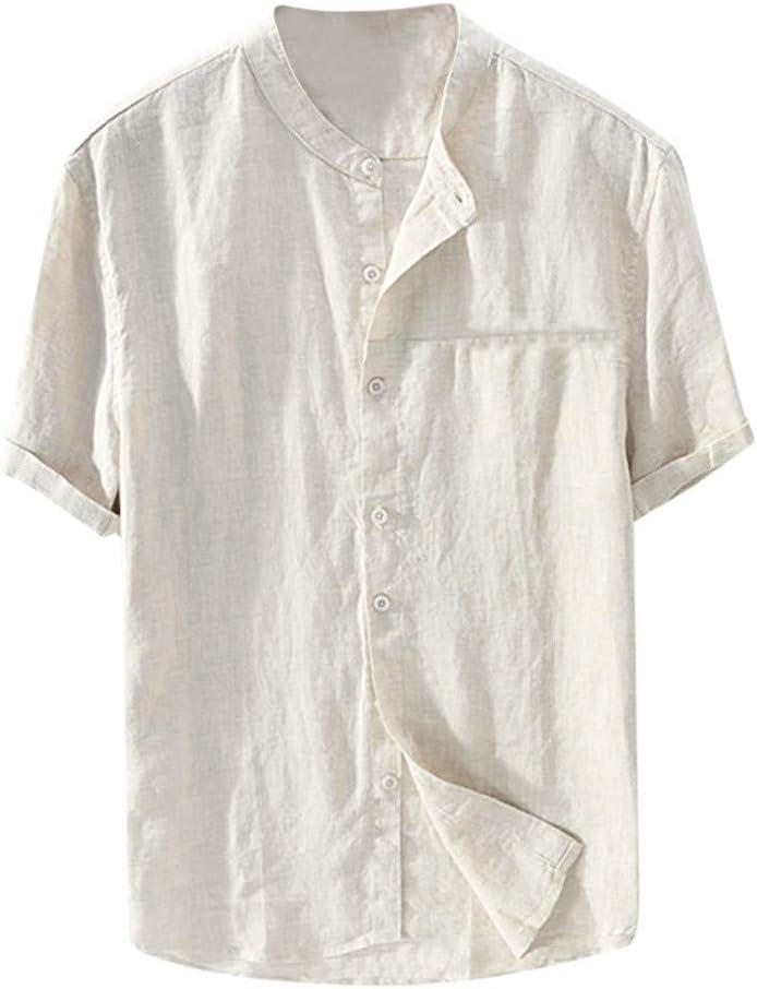 Nuewofally Mens Casual Striped Long Sleeve Shirt Crew Mandarin Collar Henley Shirts Button Up Baggy Cotton Linen Blouse (Khaki,S)