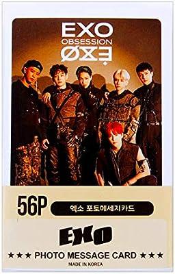 Amazon Com 56pcs Exo Photo Photocard 56pcs K Pop Exo Suho Baekhyun Chanyeol Do Kai Sehun Xiumin Lay Chen Group Solo Photocard Photo Message Card Photo Card Photocards Set For Exo L Fan