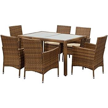iKayaa Patio Dining Table Set for 6 Outdoor Wicker Furniture Set  Light  Brown. Amazon com  iKayaa 9PCS Outdoor Dining Set Wicker Patio Table and