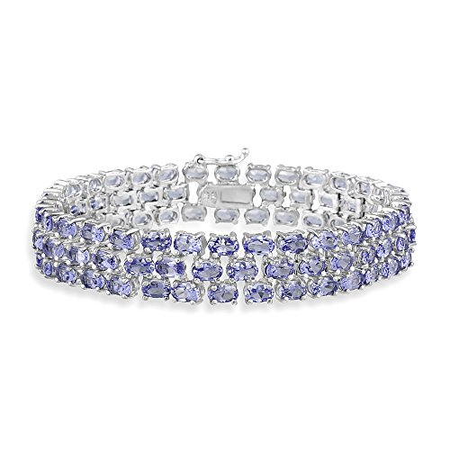 Sterling Silver Tanzanite Three Row Tennis Bracelet by Ice Gems