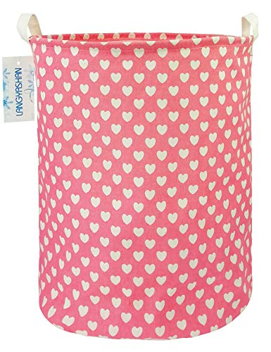 LANGYASHAN Storage Bin,Canvas Fabric Collapsible Organizer Basket for Laundry Hamper,Toy Bins,Gift Baskets, Bedroom, Clothes,Baby Nursery(Round Pink Heart)