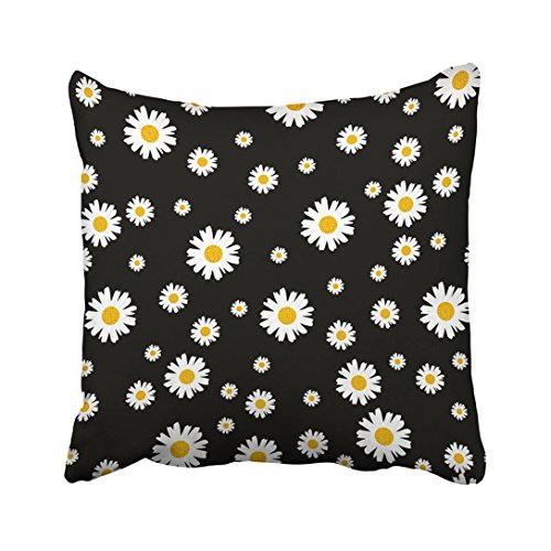 Emvency Throw Pillow Cover Polyester 18X18 Inch Black Daisy Beautiful Ditsy Floral Colorful Beauty Bouquet Bright Classic Cute Feminine Two Sides Decorative Square Print Pillowcase For - Fabric Daisy Flannel