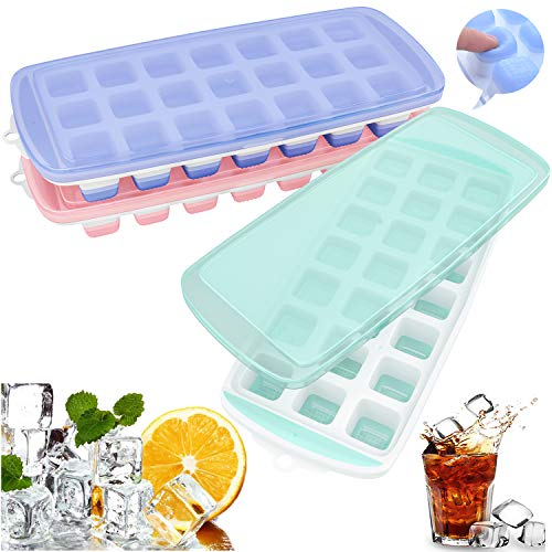 (Ozera Ice Cube Trays, 3 Pack Easy Release Silicone Ice Trays with Spill-Resistant Lid, Make 63 Ice Cube, Non-toxic & BPA Free, Stackable)