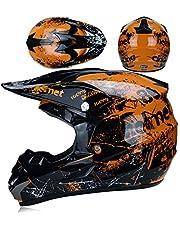 LTongx Motos Motocross Cascos y Guantes y Gafas estándar para niños ATV Quad Bicicleta go Casco de Kart