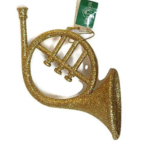 Kurt Adler Gold Glitter Musical Instrument Ornament (Horn)