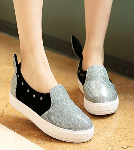 Aisun Womens Cute Casual Studded Round Toe Low Tops Thick Sole Platform Fashion Sneakers Flats Slip On Loafers Skateboard Shoes Silver deB09TZml