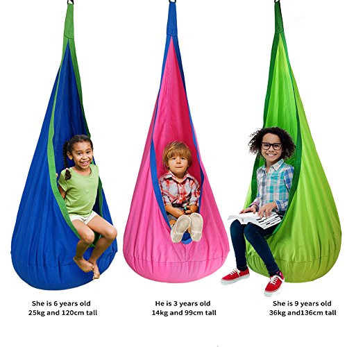 DEHORMS Kids Pod Swing Seat Hammock for Indoor and Outdoor Hanging Hammock Chair-Green