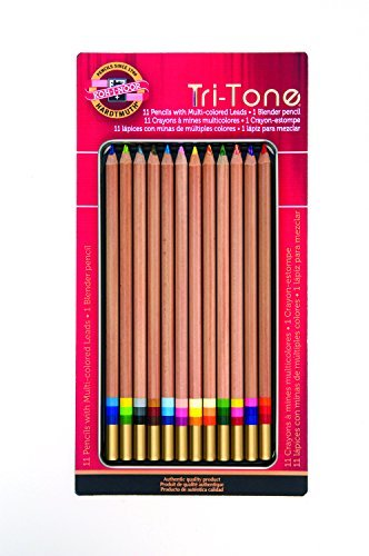 Koh-I-Noor Tri-Tone Multi-Colored Pencil Set, 12 Assorted Colors in Tin and Blister-Carded (FA33TIN12BC) by Koh-I-Noor