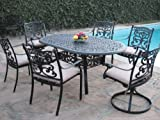 Outdoor Patio Furniture 7 Piece Aluminum Dining Set with 2 Swivel Rockers DS-SA01-4272T For Sale