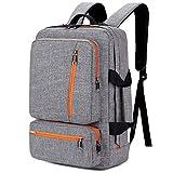 SOCKO Convertible Laptop Backpack 17 Inch, Multifunctional Travel Computer Bag Rucksack Shoulder Briefcase Messenger Bag Hiking Knapsack College School Notebook Bag for Men/Women, Grey-Orange