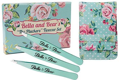 Bestes 3-teiliges Pinzetten-Set von Bella & Bear. Garantiert 100 % professionelles Präzisions-Pinzetten-Set aus Edelstahl mit Etui, enthält Pinzetten mit angeschrägter, spitzer und flacher Spitze. Ideale Augenbrauen- & Wimpern-Pinzette