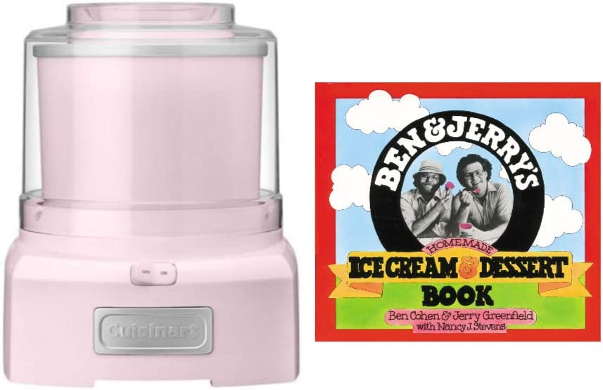 Cuisinart Automatic Frozen Yogurt-Ice Cream and Sorbet Maker (Pink) Bundle with Ice Cream Recipe Book (2 Items)