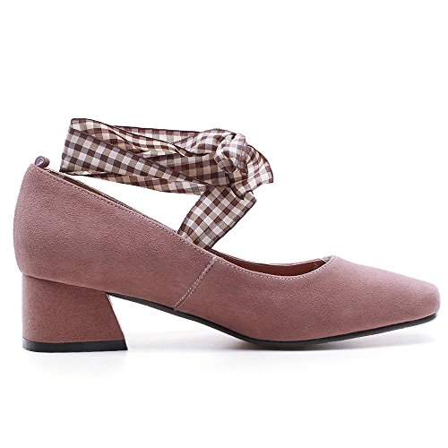 Leather Seven New Heel Women's Nine Handmade Strap Square Pink Ankle Toe Suede Cute Chunky Pumps OEBTqqwxd