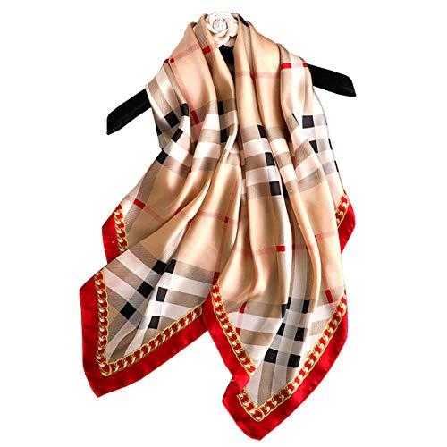 "K-ELewon 35"" Womens Large Satin Square Scarf Silk Feeling Hair Scarf Wrap Headscarf SK07-03"