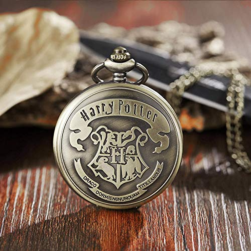 Vintage Cute Wings Snitch Pocket Watch Necklace | Bronze Cute Chain Clock Pendant | for Children Boys Potter Fans' Gift]()