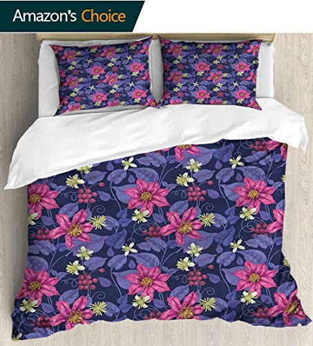 (Floral Duvet Covers For Girls,Box Stitched,Soft,Breathable,Hypoallergenic,Fade Resistant Kids Bedding-Does Not Shrink Or Wrinkle(79