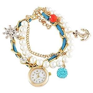 Souarts Damen Vergoldet Farbe Ruder mit Strass Armbanduhr Quartz Analog...