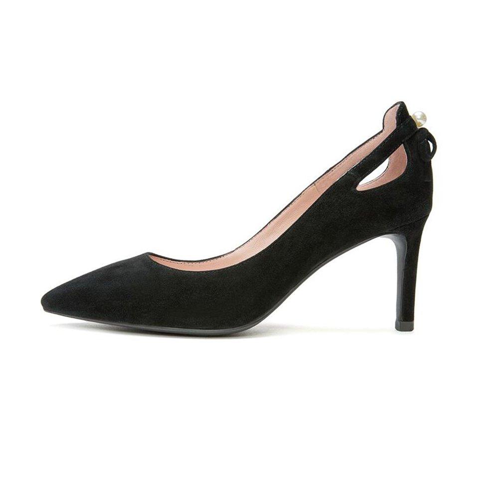 DALL Pumps Ly-15 Perle Dekoration Frühling Und Sommer Ms. High Heels Einzelne Schuhe Fein Mit Heel Mode Eleganz Absatzhöhe 7cm (Farbe   Schwarz größe   EU 38 UK5.5 CN38)