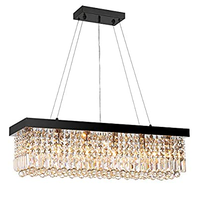 7PM Modern Contemporary Linear Rectangle Rectangular Island Elegant K9 Crystal Chandeliers Crystal Droplets Pendant Suspension Lamp Light Fixture Hanging Dining Room Kitchen Island Black