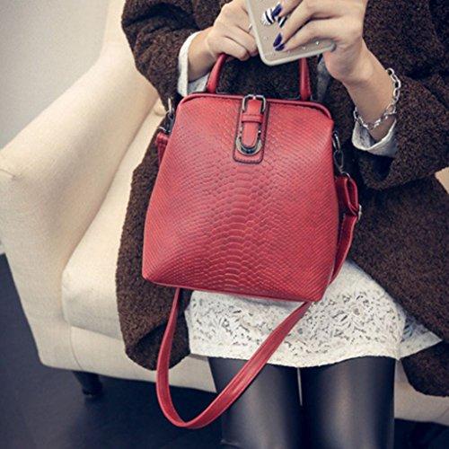 Fille Vin Coréen dos Sac à Sackpack bandoulière réglable Boucle Arichtop Sac main Bracelet Style Sac étudiant PU à multi Rouge à Femmes fonction Twfd1S1q