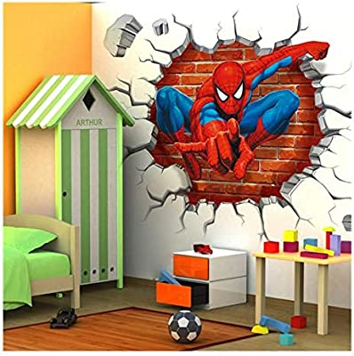 Red Avengers Wall Sticker Removable DIY Spiderman Wall Sticker ...
