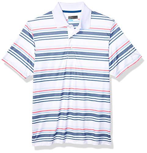 PGA TOUR Men's Short Sleeve Pro Series Stripe Polo Shirt, Bold Texture Bright White, XXL