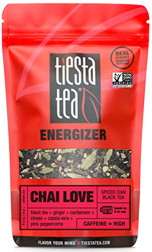 Tiesta Tea Chai Love Spiced Chai Black Tea, 30 Servings, 1.9 Ounce Pouch - High Caffeine, Loose Leaf Black Tea Energizer Blend, Non-GMO