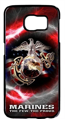 - Cell World LLC - USMC Marine Corps Proud Flag Rubber Silicon Black Case Cover for Samsung Galaxy S10 + 6.4