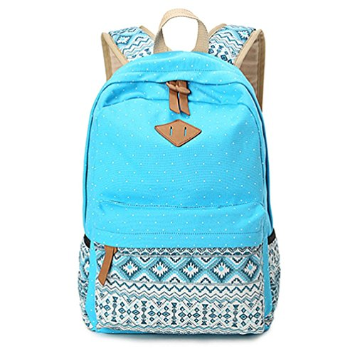 HITOP Geometry Dot Casual Canvas Backpack Bag, Fashion Cute, Lightweight for Teen Young Girls, Blue