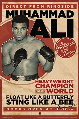 Pyramid America Muhammad Ali Vintage Style Boxing Sports Poster 12x18 inch