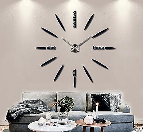 TAO Reloj de pared electrónico grande de las etiquetas engomadas del reloj de pared 3D moderno