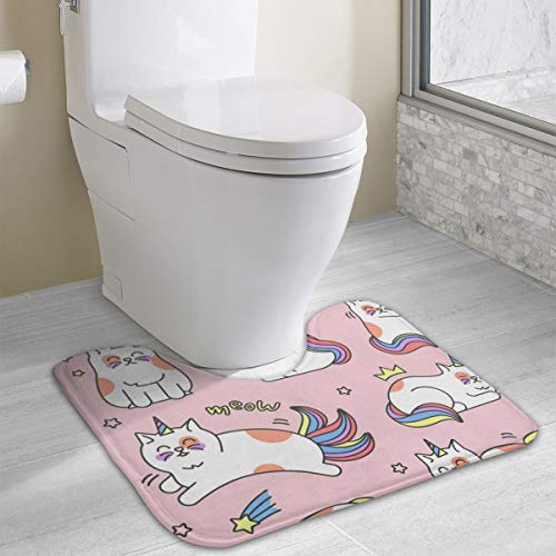 Dbou Seamless Art Print Cat Unicorn U-Shaped Absorbs Moisture Non Slip Bathroom Rugs Toilet Carpet Floor Mat, 15.8