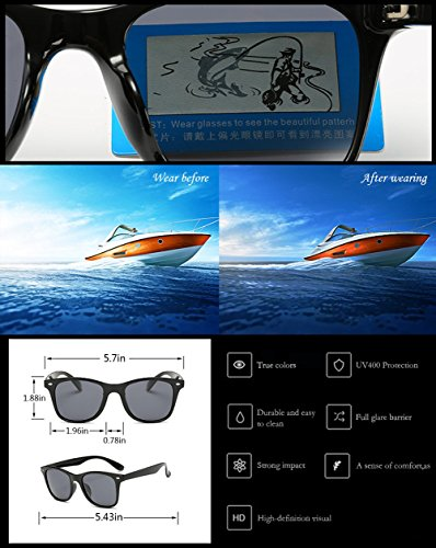 Polarized Sunglasses For Men Wayfarer Black Frame Shades Classic Sun Glasses by Dollger (Image #4)