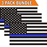 #1: Classic Biker Gear Reflective Thin Blue Line Decal - 3x5 in. American Flag Decal for Cars and Trucks, Support Police and Law Enforcement Officers (3 Pack)