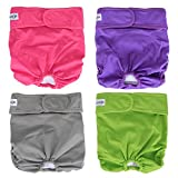 Luxja Reusable Female Dog Diapers (Pack of 4), Washable Wraps for Female Dog (Large, Gray+Green+Purple+Rose Red)