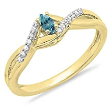 10K Gold Marquise & Round Blue & White Diamond Bridal Crossover Swirl Promise Engagement Ring