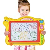 Meland Magnetic Drawing Board, Large Size Magna Drawing Doodle Board with 4 Colors, Erasable Sketch Pad Toy with Animal Stamps for Kid Learning