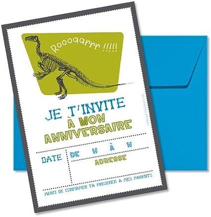 Lot De 5 Cartes D Invitation Anniversaire Theme Dinosaure Amazon Fr Fournitures De Bureau